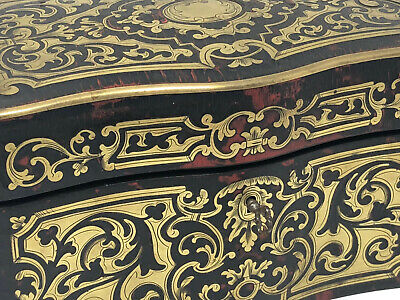 Coffret à Thé Marqueterie Boulle Epoque Napoléon III Antique French Box 19th