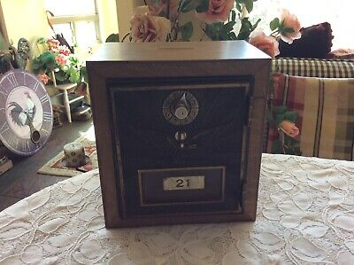 Vintage! Wood & Brass  Mailbox Door Post Office Bank With Combination Lock
