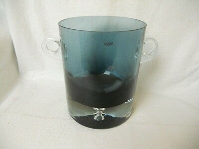 Krosno  Crystal Blue Ice Bucket  With Bubble In Base Made In Poland