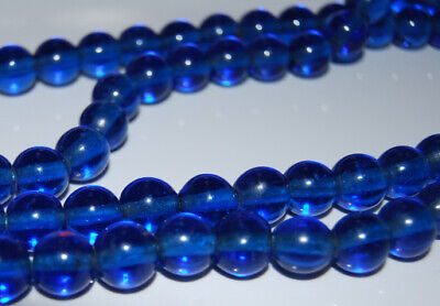 Antique Art Deco Chinese Cobalt Blue Peking Flapper Glass Beaded Necklace 36""