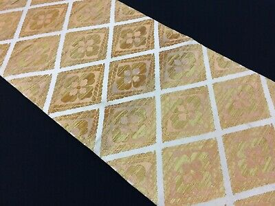 Japanese fukuro obi for kimono, for women, silk, vintage, golden (Y2622)