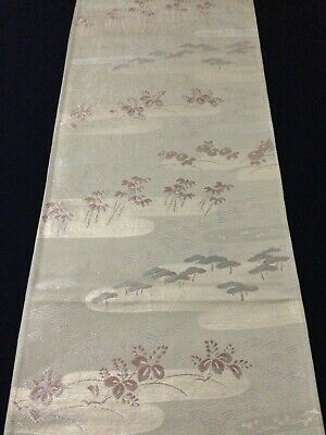 Japanese fukuro obi for kimono, for women, silk, green, Japan import (Y2623)