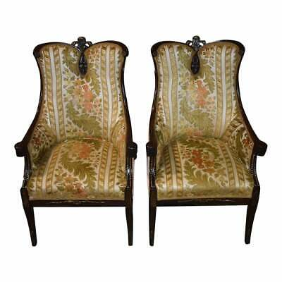 Pair of Antique Regency Style Carved Mahogany Fire Side Chairs