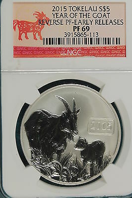 2015 Tokelau Islands $5 Year of the Goat Reverse Proof 1oz .999 Silver Goat