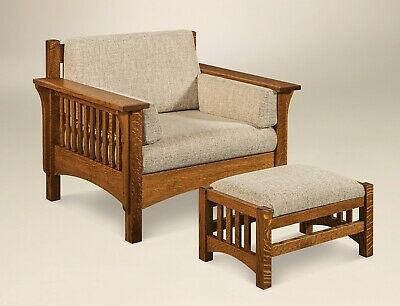 Amish Mission Arts and Crafts Accent Chair Ottoman Wood Slat Upholstered