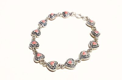 """Vtg Sterling Silver Pink Lace Agate Hearts Cabochon Chain Tennis Bracelet - 7.5"""""""
