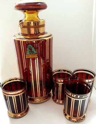Vintage Bar Ware Cocktail Set Amber Glass Decanter & Tumblers Glassware