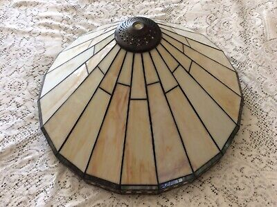 "Mission Slag-Arts & Crafts Spectrum Glass Lamp Shade 19 1/2"" Dia.x 9 1/2"" High"