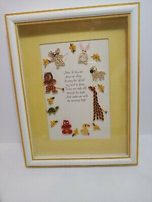 Vintage 13x10 Paper  Craft Art Framed Quilling Prayer w/ animals