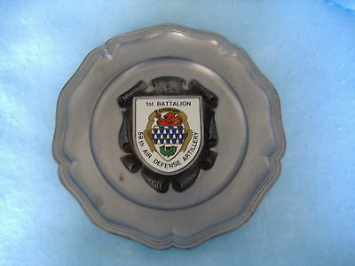 Us Army 1St Battalion 59Th Air Defense Artillery Pewter Commemorative Plate-Wwii