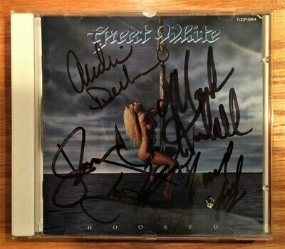 Great White - Hooked (Japan CD - Rare Cover) Autographed by all 5 band members