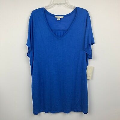 32c4c5d6f5aa Sejour Tshirt Plus Size 2X Blue Soft Stretch Short Sleeve VNeck Tee Womens  NWT