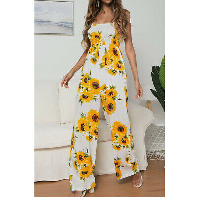 Fashion Sunflower Printed Jumpsuit Woman Loose Silky Holiday sling Rompers
