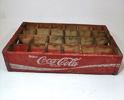 Vintage Coca Cola 24 Bottle Red Wood Crate