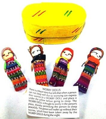 New Set Of 4 Worry Dolls In A Box Handmade by Mayan Artisans Guatemala Worries