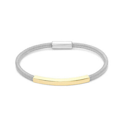 Jewelco London Rhodium & Gold Sterling Silver Ribbed Magnetic Popcorn Bracelet