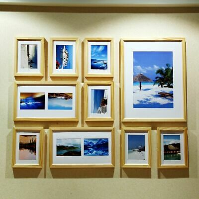 Wood Photo Picture Frame 10pcs Wall Collage Home Office Art Decor Natural Wood