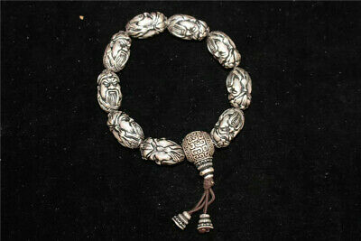 Collection Old Chinese pure Silver carved Guan gong Guan yu Head beads Bracelet