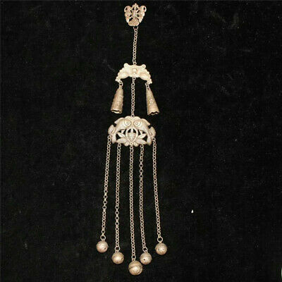 """10.63"""" Collection Old Chinese copper silvering carving pattern Pendant"""