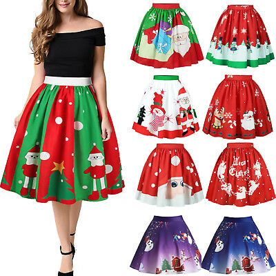 Womens Xmas Santa Snowman Skater Pleated Skirts Christmas Party Swing Mini Dress