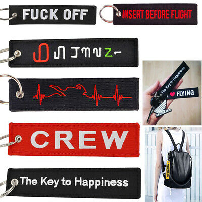 Remove Before Flight Embroidery Keyring Car Motorcycle Backpack Key Chain