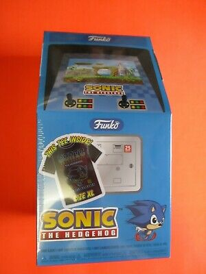 626667708 FUNKO POP Games Sonic the Hedgehog Box Gamestop Excl. Metallic Sonic & T- Shirt