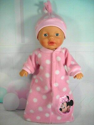 "Dolls clothes for 13"" Little Baby Born Doll~MINNIE MOUSE SPOT SLEEPING BAG~HAT"