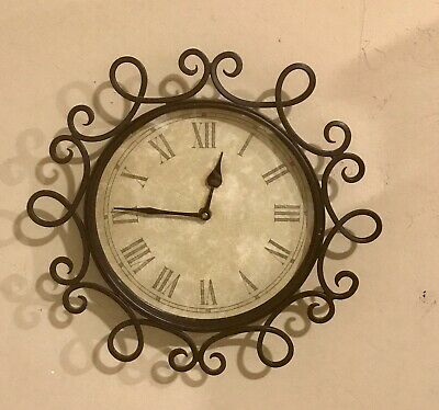 Brown Ornate Round Metal Wall Clock Antique Look