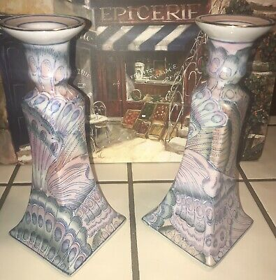 Vintage Asian Porcelain China Painted MACAU 1960-70's Pink Candlestick Holders