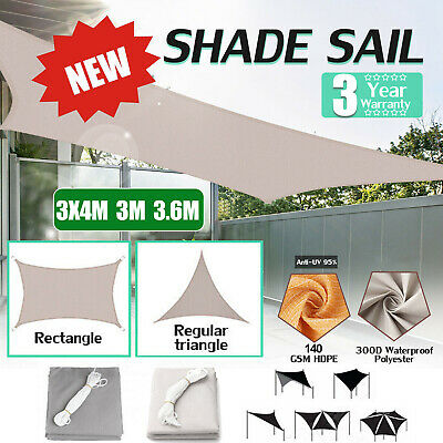 3M 3.6M 3x4M Waterproof Sun Shade Sail Cloth Outdoor Canopy Awning White Grey UK