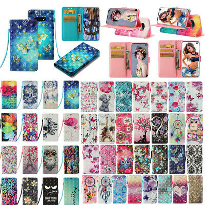 For Samsung Galaxy S10 S9+ 3D Leather Magnetic Flip Stand Card Wallet Case Cover