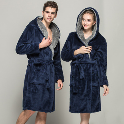 Mens Womens Fleece Hooded Bath Robe quality Lightweight Dressing Gown Robe