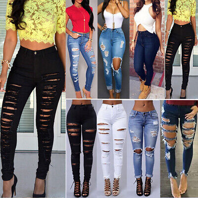 Women Skinny Ripped Denim Jeans High Waist Pants Boyfriend Trousers Fit Jeggings