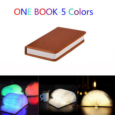 Creative LED Booklight Wooden Book Shape Lamp Night Light USB Recharge Original