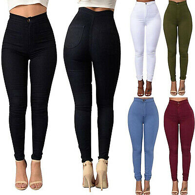 Women High Waisted Skinny Jegging Denim Jeans Fit Stretchy Pencil Pants Trousers