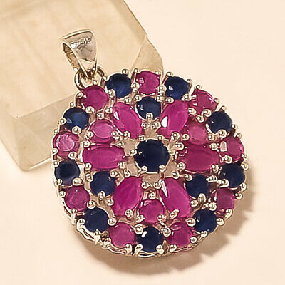 Natural Red Ruby Sapphire Pendant 925 Sterling Silver Designer Fine Jewelry Gift