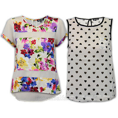 ladies sleeveless vest top chiffon blouse womens floral hearts high low hem new