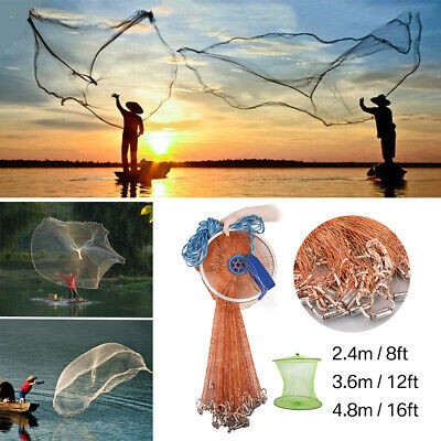 2.4/3.6/4.8m Hand Cast Fishing Net Spin Network Easy StrongThrow Bait Nylon Mesh