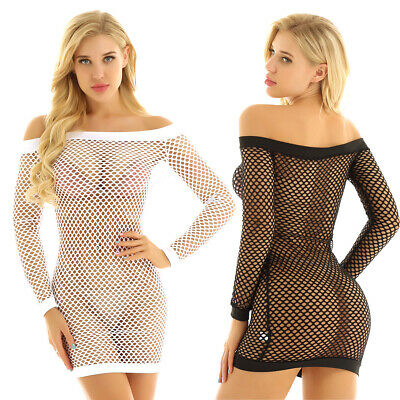 Womens See Through Fishnet Off Shoulder Long Sleeve Bodycon Dress Cocktail Party