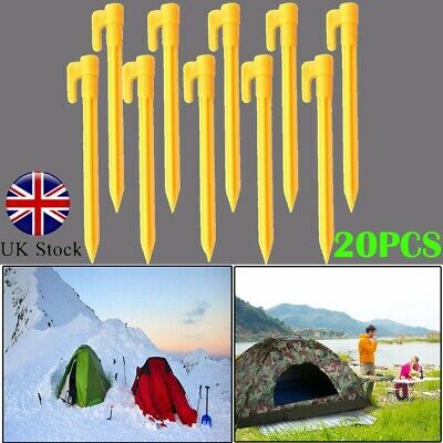 20X Plastic Tent Awning Pegs Nails Sand Ground Stakes Outdoor Camping Caravan UK