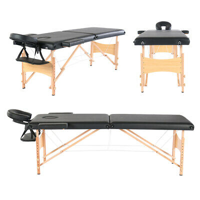 2 Fold Heavy Duty Portable Massage Table w/Free Carry Case Facial Spa Tattoo Bed