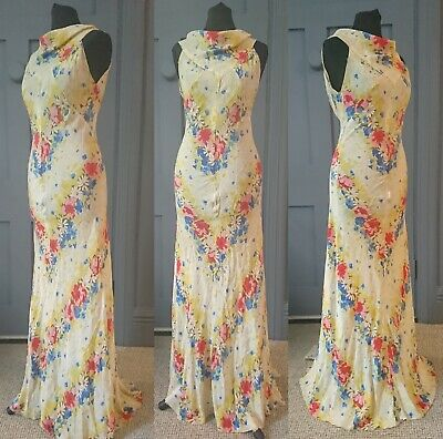 Stunning 1930s Deco Cowl Neck Floral Silk Evening Dress - True Vintage Fashion