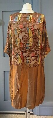 Rare 1920s Art Deco  Cut Velvet Silk Flapper Dress - True Vintage Fashion