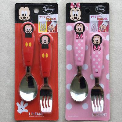 DISNEY MICKEY & MINNIE MOUSE Toddler Stainless Steel Spoon & Noodle Fork Set