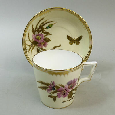 Antique Royal Crown Derby Finely Hand Painted & Gilded Cup & Saucer C.1885