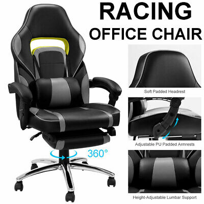 Reclining Office Chair Executive Ergonomic Racing Gaming Swivel Leather Computer