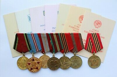 7x Original USSR Russian Medal Victory Soviet Armed Forces WWII WW2 DOC