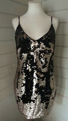 NEXT Black Gold Sequin Strappy Slip Dress Size 16 Party Festival Evening RRP £48