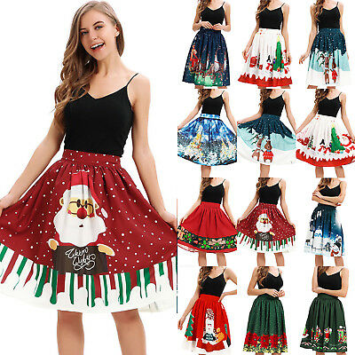 Womens Christmas Santa Claus Lovely Print Tutu Skirt High Waist Swing Midi Dress