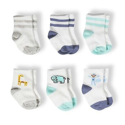 Aden + Anais 0-6 months Jungles Jams Boys Combed Cotton Baby Socks- 6 pack